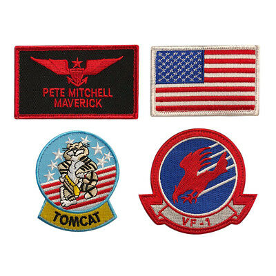 Top Gun Movie Maverick Costume Patches (4PC Set - Hook Fastener)