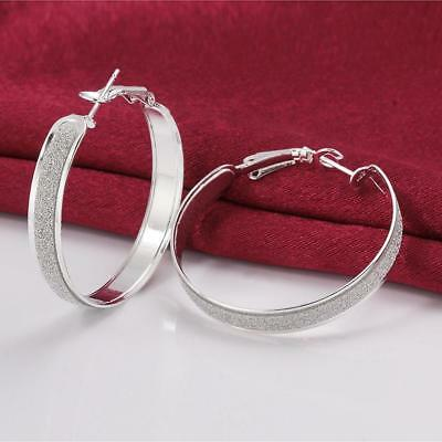 Womens 925 Sterling Silver Elegant Sand Surface Round Vogue Hoop Earrings #E267
