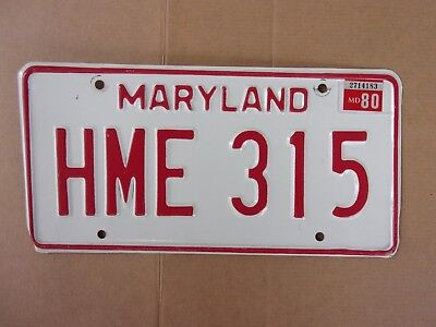 1980 Maryland License Plate HME 315