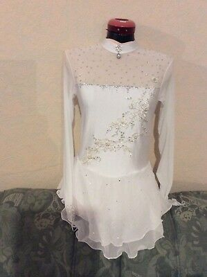 ice skating dress white age 12 long sleeve competition gems pearls sparkle