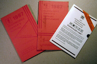 Oldsmobile 1987 Owner's Manual Supplement GM Maintenance Schedule Book Car Info