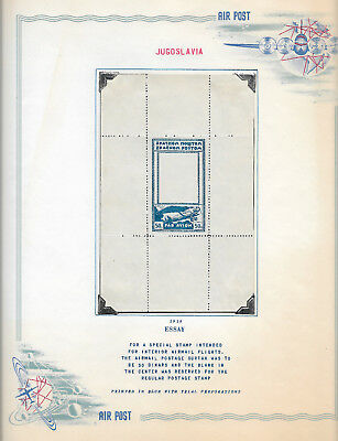 YUGOSLAVIA Large Essay For a Special Stamp for Interior Airmail Flights 1928