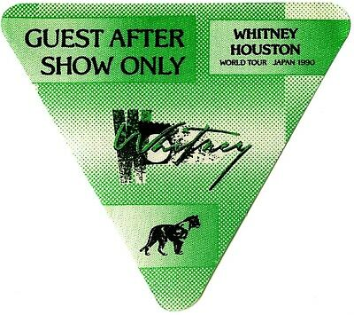 Whitney Houston authentic 1990 Japan tour satin backstage pass after show green
