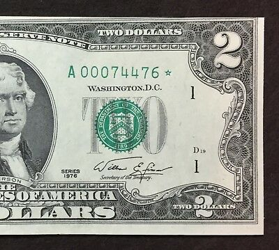 00074476* Star Note 1976 Two Dollar $2 Bill, Cutting Error, Uncirculated, Boston