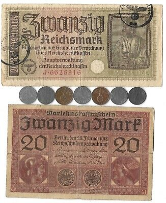 Rare Old WWII Great War German Army Reich Note Coin Collection Lot Unique Gift