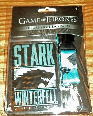 Game of Thrones House Stark / Winterfell Lanyard ID Holder shipping $.50 ea addl