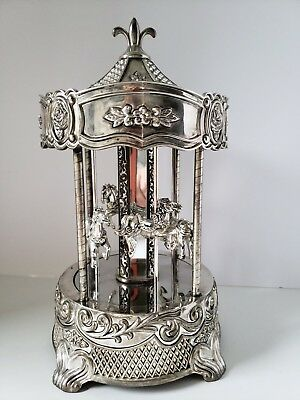 Wallace Silver Plated Carousel Vintage Music Box 4 Horses *Wind Up Works
