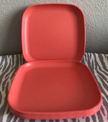 """Tupperware Luncheon Plates Square Edged 8"""" Coral Set of 4 New"""