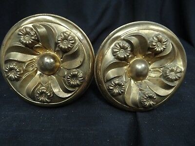 early brass curtain tie backs,pair of nice 3 1/2'' diameter,5 1/2'' L tie backs