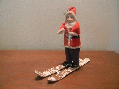 "Antique Vintage Santa Claus Figure On Skis Ornament made in Japan  6"" tall"