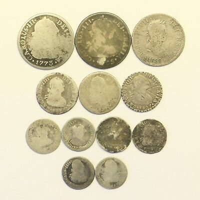 Lot of 1700-1800 Silver Spanish Colonial Pieces of 8 Reales: Pirate Treasure!!!