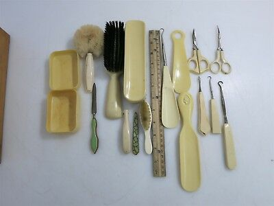 "Vintage ""French Ivory"" (Celluloid) Vanity / Grooming Set 17 pcs"