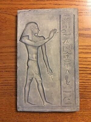 Ancient Egyptian Reproduction Of Egyptian Man Standing With Ankh Plaque