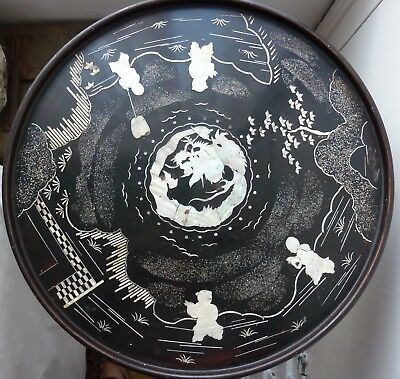 Antique Mother of Pearl Inlay Table, Japanese Export, Art Nouveau, Diameter 35,5