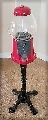 Vtg Red Gumball Machine Bank With Stand