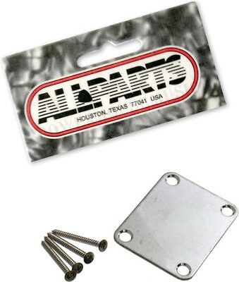 Aged Chrome 4-Hole Neckplate For Fender Guitar & Bass Relic Neck Plate *new*