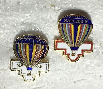 """Harlequin"" Set Of 2 Vintage Hot Air Balloon Pins"