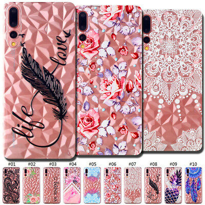 For Huawei P20 Pro Silicone TPU Rubber Pattern Diamond Skin Back Soft Case Cover