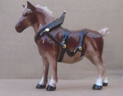 Hagen Renaker Mini Belgian Draft Horse In Harness w/ Gold Trim