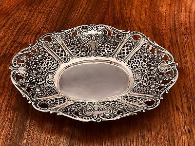 - German 800 Silver Basket Or Bowl In Reticulated Floral Pattern No Monograms