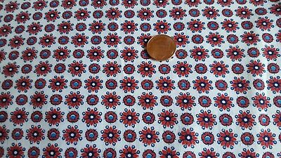 Vintage Antique Cotton Fabric 30s Quilt Doll Red Flowers Blue  Dots