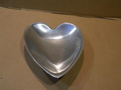 "Nambe Metal Heart Shaped Serving Bowl # 118 B 9"" Vintage"