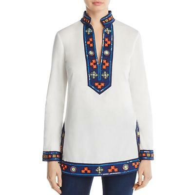 Tory Burch Womens Beaded Sequined Embroidered Blouse Top BHFO 5113