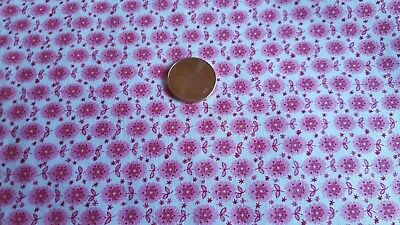 Vintage Antique Cotton Fabric 30s Quilt Doll Pink Tiny Flowers Ovals