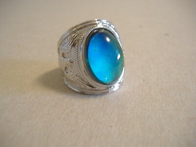 Vintage Style Silver Tone Oval Mood Ring Size 10 1/2 Solid Bnd.