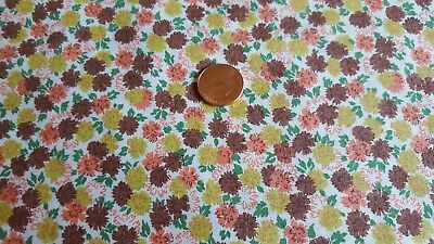 Vintage Antique Cotton Fabric 30s Quilt Doll Brown Coral Chartreuse Green Flower