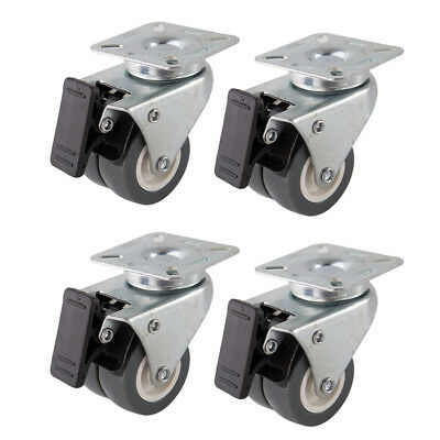 "4 Heavy Duty Caster Set 2"" Swivel Wheels 2 w/ Brake Non Skid No Mark Castors"