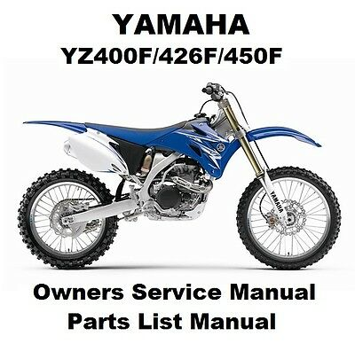 YAMAHA YZ450F 400F 426F Owners Workshop Service Repair Parts Manual PDF on CD-R