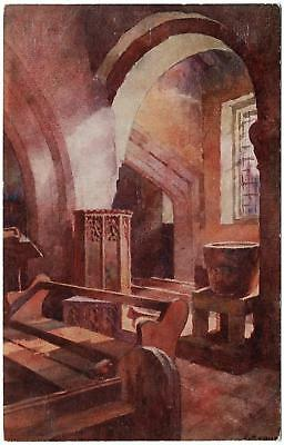 VINTAGE INTERIOR of OLD CHURCH BROADWAY WORCESTERSHIRE Lygon Series POSTCARD