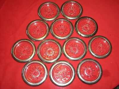 12 Vintage Glass and Silver Rimmed Coasters