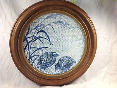 19th Japanese Blue And White Charger With Quails Pattern