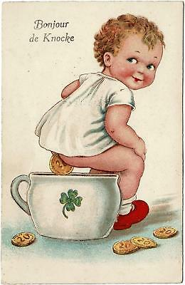 VINTAGE RUDE CHILD on POTTY COINS with FOLD OUT of 6 SCENES KNOCKE POSTCARD