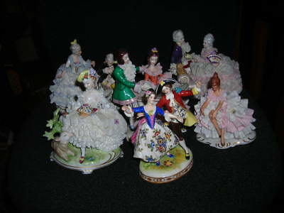 Fall Clearance! Lot Of 6 Large Vintage/antique Dresden Lace Figurines