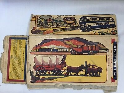 1940s Post Toasties Cereal Box Cutouts Travels With Time Set 4 Wagon Train 4043