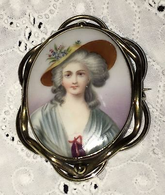 Antique Portrait Brooch Hand Painted Porcelain Enamel Pin Victorian Georgian Vtg