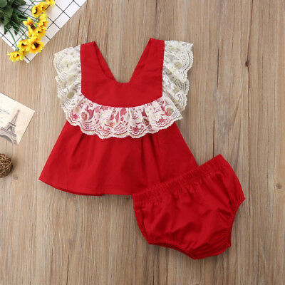 Lace Newborn Toddler Baby Girl Top Dress Shorts Briefs Outfits Clothes AU Seller