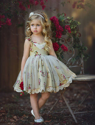 Toddler Baby Girls Flowers Party Formal Lace Tutu Tulle Dress Sundress