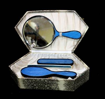 Vintage blue gossamer vanity set in case with mirror, brushes & comb