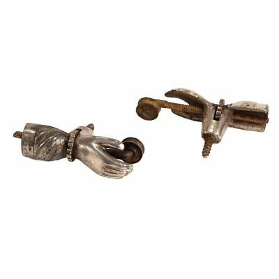 Victorian Curtain Holder Hardware Pair of Hands - Antique Nickel - Patented 1878