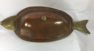 Turkish BX Incirlik Platter Copper Tone Brass Metal Fish Large Serving Vintage