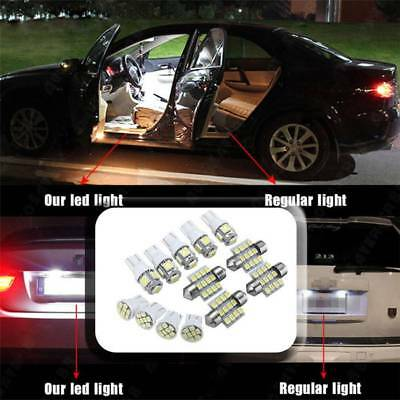 13Pcs Car Pure White LED Lights Kit for Stock Interior Dome License Plate Lamps