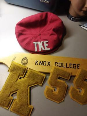 KNOX college , TKE fraterniity hat and paddle Letter and numeral,  1955