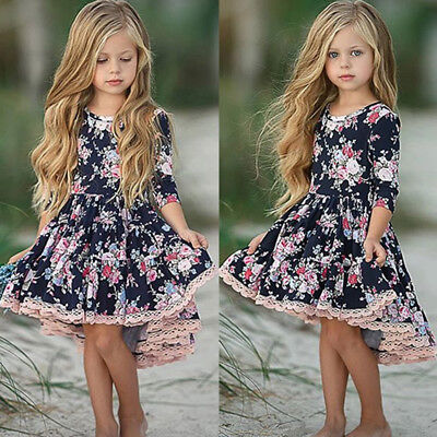 AU Flower Kids Girl Dress Princess Baby Lace Floral Party Pageant Dresses 1-6Y