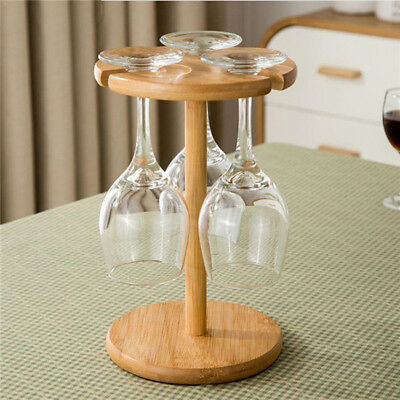 Wooden Wine Glass Rack Goblets Hanging Upside Down Cup Holder Wood Stand Shelf