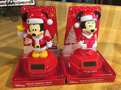 Disney CHRISTMAS MICKEY & MINNIE MOUSE SOLAR BOBBLE HEAD SET Bobblehead