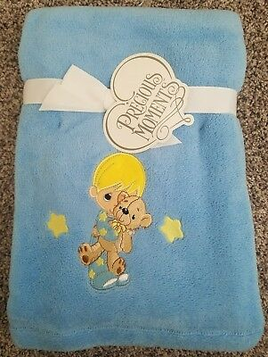 "Precious Moments Baby Boy Blanket 30"" X 40"" NEW"